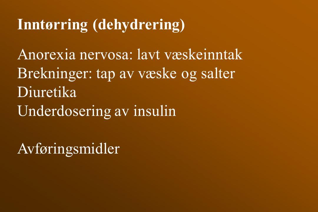 Inntørring (dehydrering) Anorexia nervosa: lavt væskeinntak Brekninger: tap av væske og salter Diuretika Underdosering av insulin Avføringsmidler
