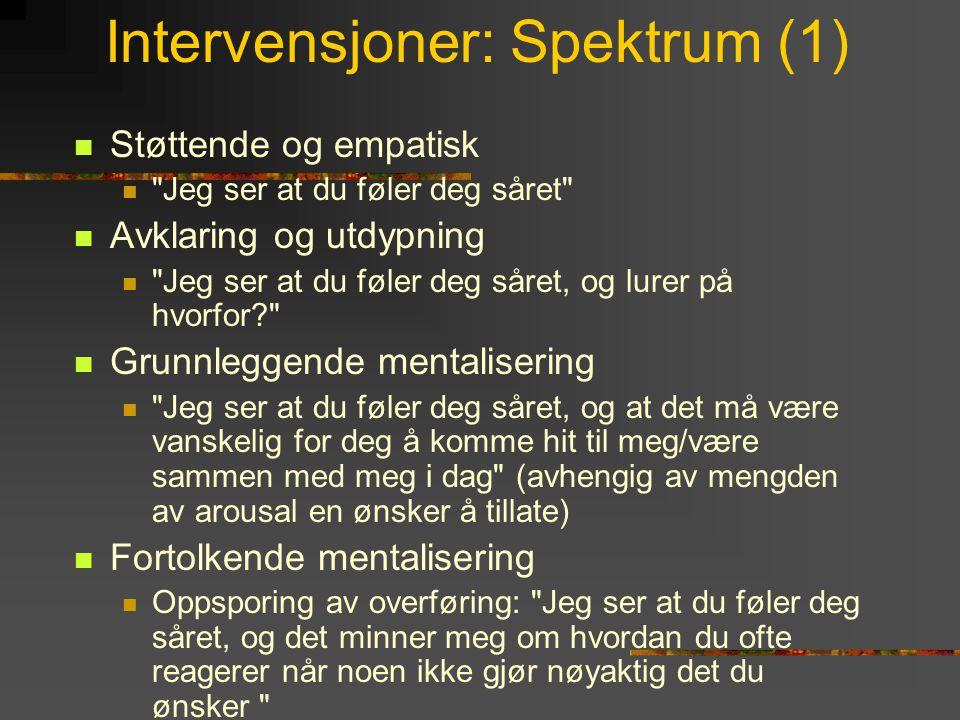 Intervensjoner: Spektrum (1)  Støttende og empatisk 