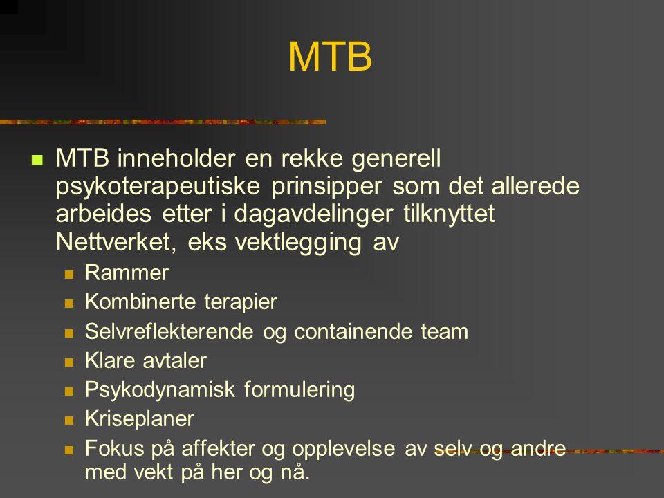 MTB  MTB inneholder en rekke generell psykoterapeutiske prinsipper som det allerede arbeides etter i dagavdelinger tilknyttet Nettverket, eks vektleg