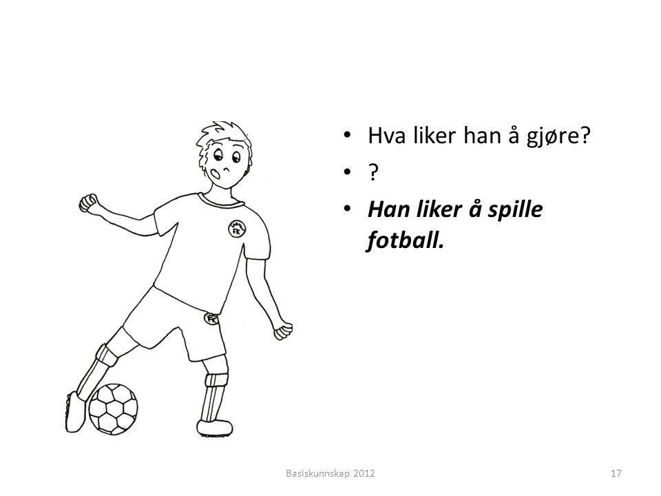 • Hva liker han å gjøre? •?•? • Han liker å spille fotball. Basiskunnskap 201217