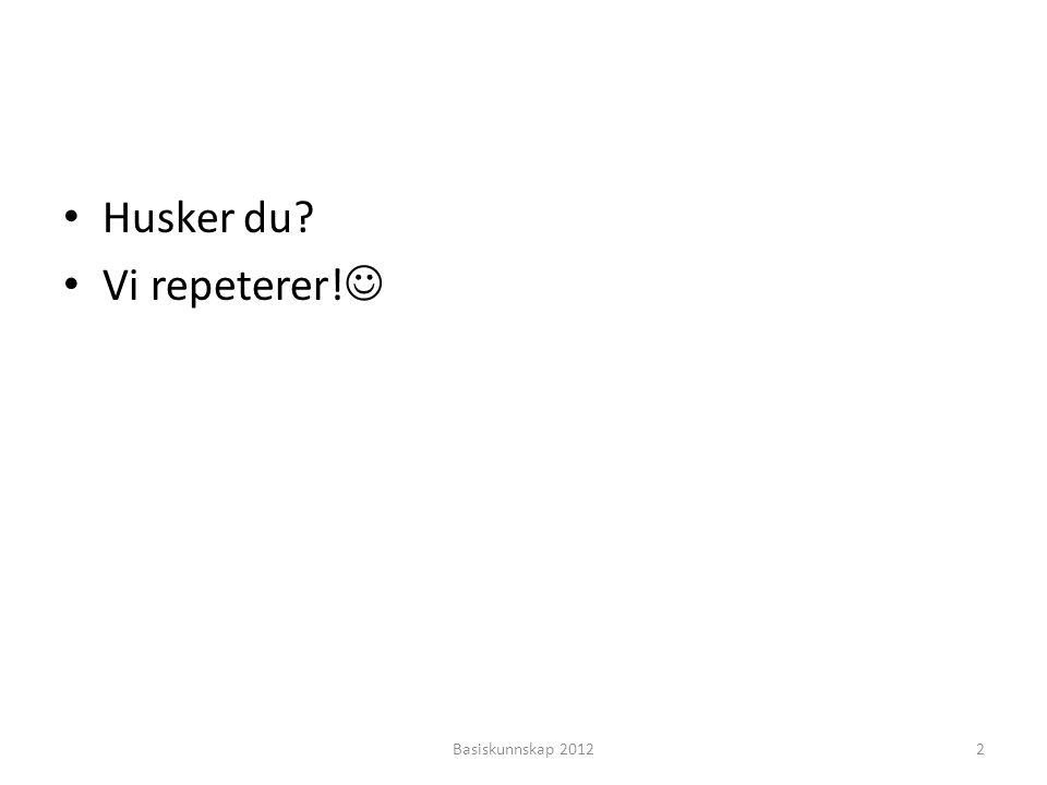 • …………….. •?•? • Liker du å ri? Basiskunnskap 201233