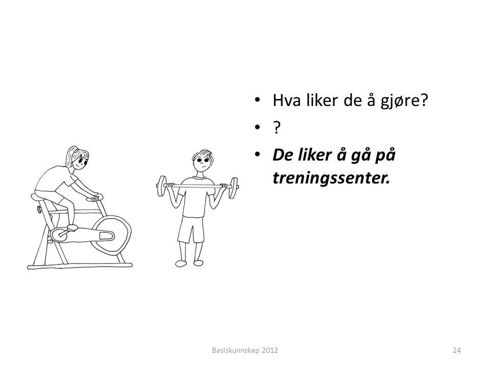 • Hva liker de å gjøre? •?•? • De liker å gå på treningssenter. Basiskunnskap 201224