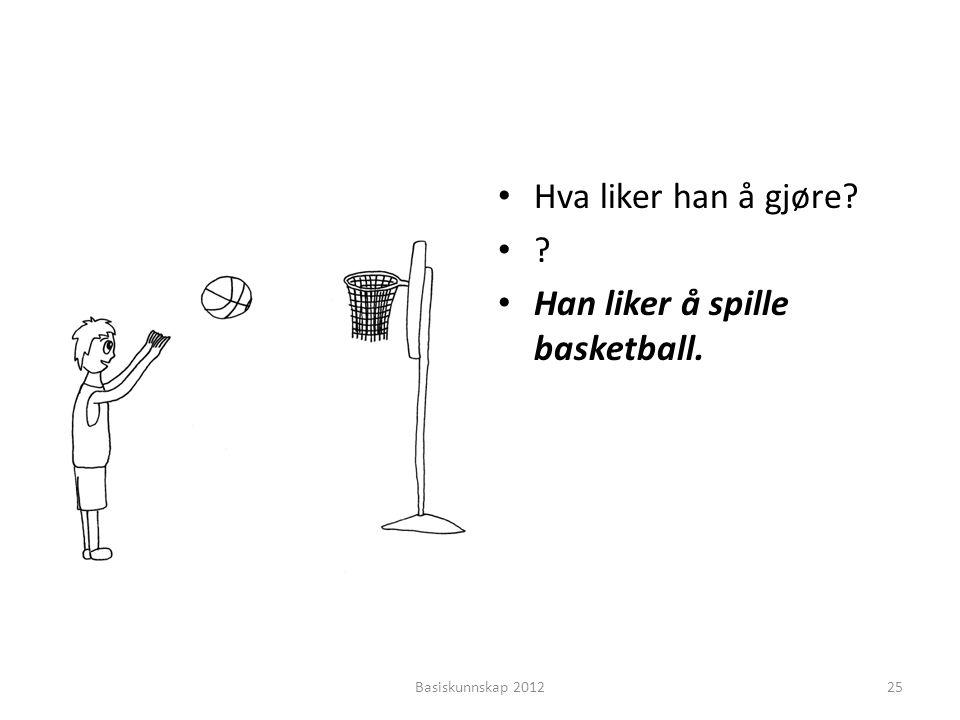 • Hva liker han å gjøre? •?•? • Han liker å spille basketball. Basiskunnskap 201225