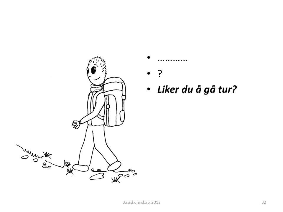 • ………… •?•? • Liker du å gå tur? Basiskunnskap 201232