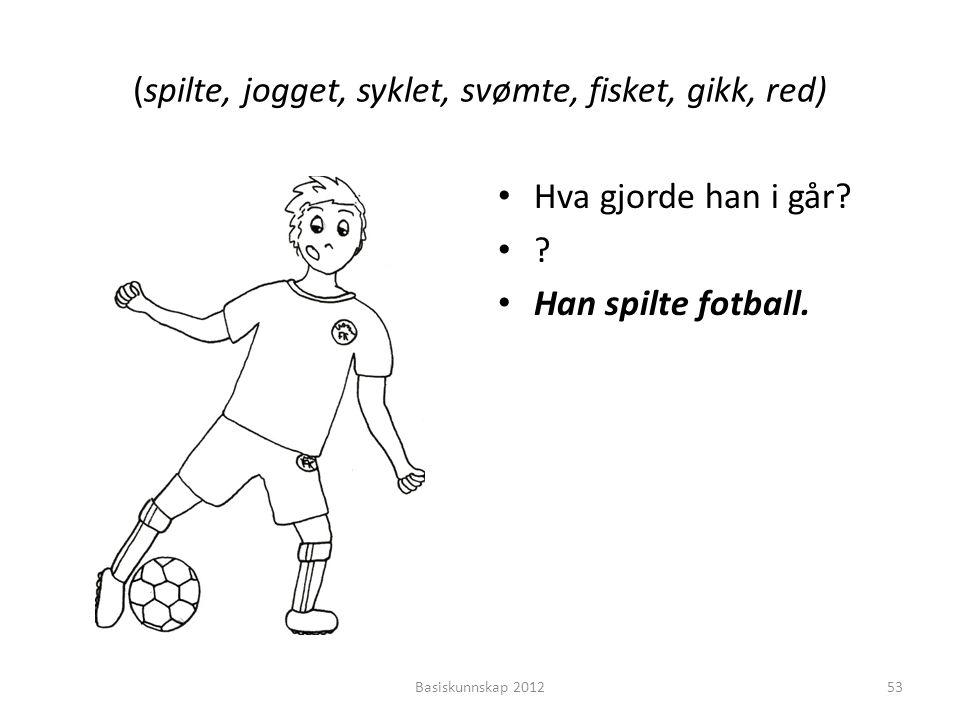 (spilte, jogget, syklet, svømte, fisket, gikk, red) • Hva gjorde han i går? •?•? • Han spilte fotball. Basiskunnskap 201253