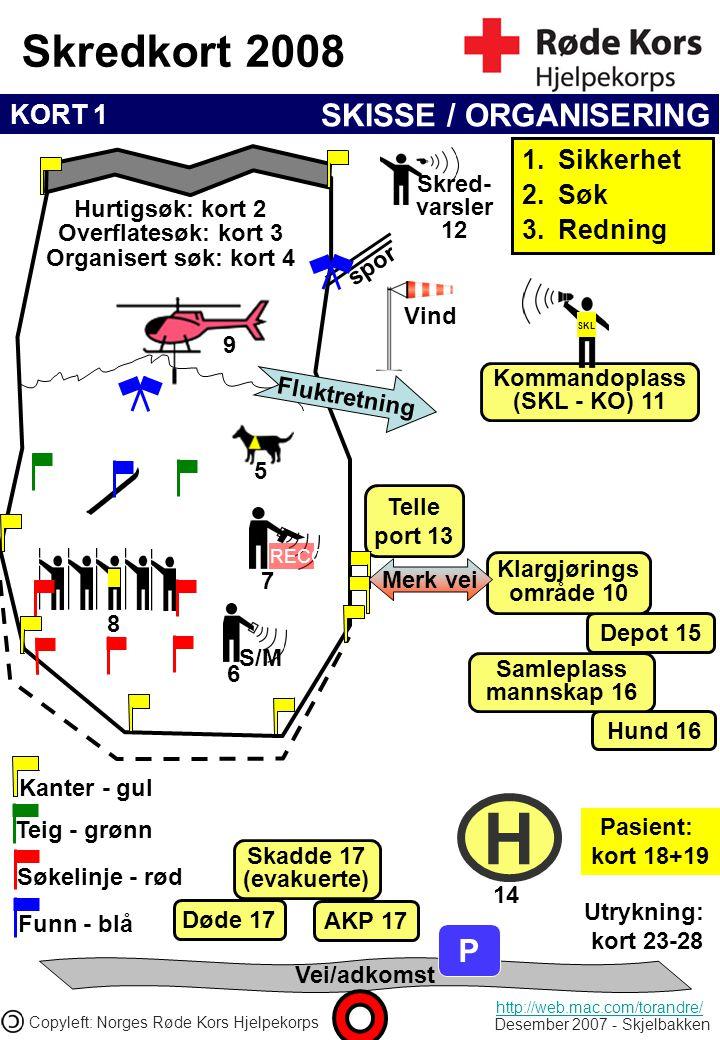 KORT 1 Skredkort 2008 Desember 2007 - Skjelbakken Copyleft: Norges Røde Kors Hjelpekorps Telle port 13 Vei/adkomst P H AKP 17 Skadde 17 (evakuerte) Hu