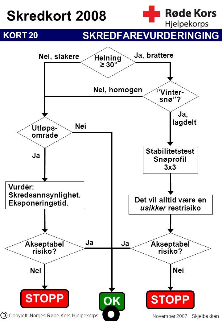 """KORT 20 Skredkort 2008 November 2007 - Skjelbakken Copyleft: Norges Røde Kors Hjelpekorps SKREDFAREVURDERINGING """"Vinter- snø""""? Helning ≥ 30° Utløps- o"""