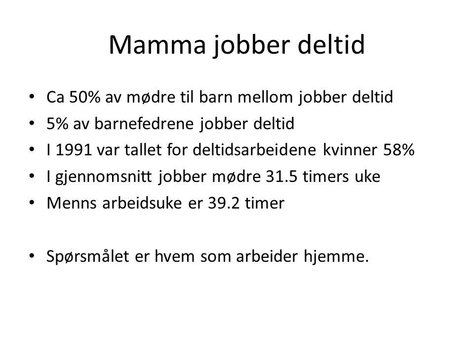 Mamma jobber deltid • Ca 50% av mødre til barn mellom jobber deltid • 5% av barnefedrene jobber deltid • I 1991 var tallet for deltidsarbeidene kvinne