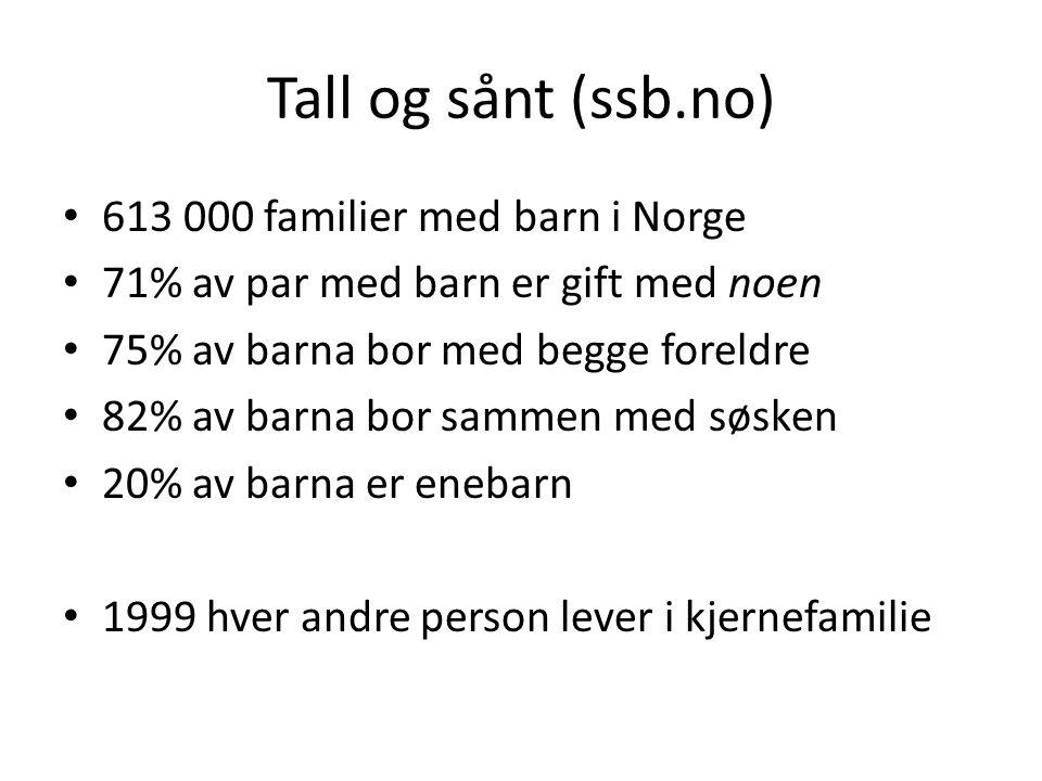 Tall og sånt (ssb.no) • 613 000 familier med barn i Norge • 71% av par med barn er gift med noen • 75% av barna bor med begge foreldre • 82% av barna