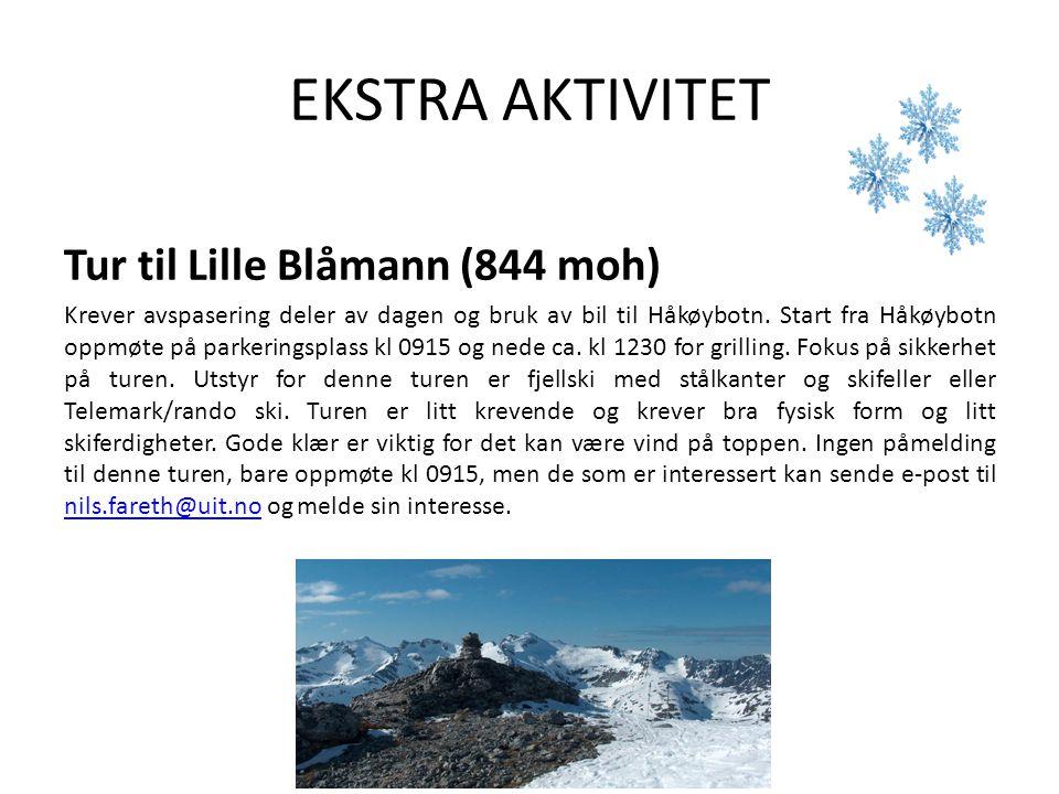 EKSTRA AKTIVITET Tur til Lille Blåmann (844 moh) Krever avspasering deler av dagen og bruk av bil til Håkøybotn. Start fra Håkøybotn oppmøte på parker