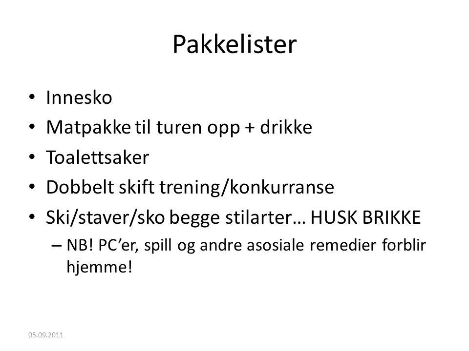 Pakkelister • Innesko • Matpakke til turen opp + drikke • Toalettsaker • Dobbelt skift trening/konkurranse • Ski/staver/sko begge stilarter… HUSK BRIKKE – NB.