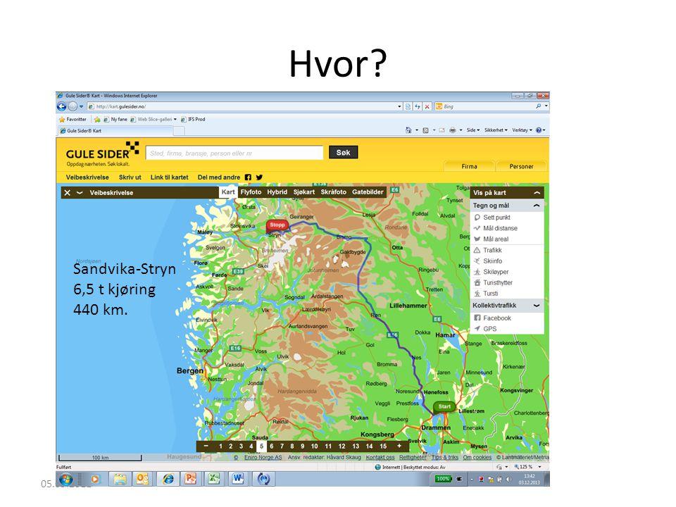 Hvor? 05.09.2011 Sandvika-Stryn 6,5 t kjøring 440 km.
