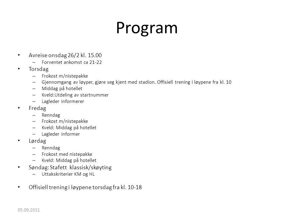 Program • Avreise onsdag 26/2 kl. 15.00 – Forventet ankomst ca 21-22 • Torsdag – Frokost m/nistepakke – Gjennomgang av løyper, gjøre seg kjent med sta