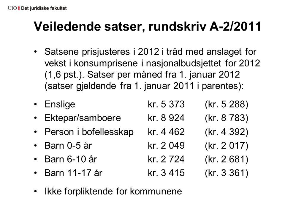 Veiledende satser, rundskriv A-2/2011 •Satsene prisjusteres i 2012 i tråd med anslaget for vekst i konsumprisene i nasjonalbudsjettet for 2012 (1,6 ps