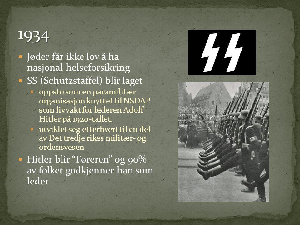  Jøder får ikke lov å ha nasjonal helseforsikring  SS (Schutzstaffel) blir laget  oppsto som en paramilitær organisasjon knyttet til NSDAP som livvakt for lederen Adolf Hitler på 1920-tallet.