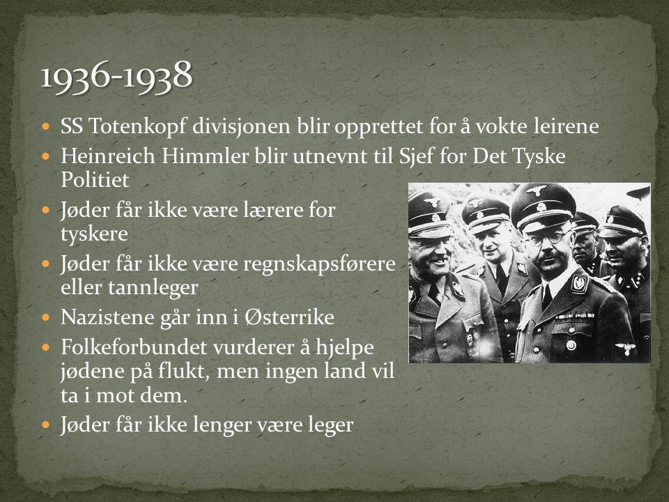  SS Totenkopf divisjonen blir opprettet for å vokte leirene  Heinreich Himmler blir utnevnt til Sjef for Det Tyske Politiet  Jøder får ikke være lærere for tyskere  Jøder får ikke være regnskapsførere eller tannleger  Nazistene går inn i Østerrike  Folkeforbundet vurderer å hjelpe jødene på flukt, men ingen land vil ta i mot dem.