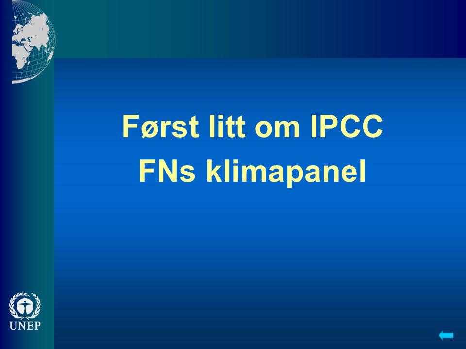 Først litt om IPCC FNs klimapanel
