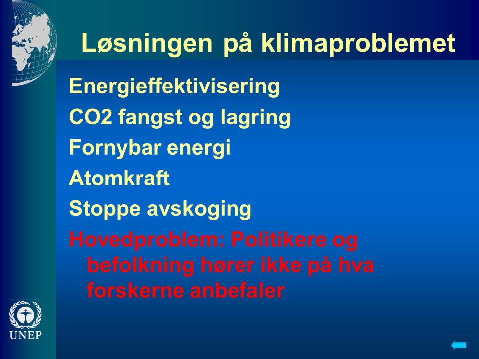 Løsningen på klimaproblemet Energieffektivisering CO2 fangst og lagring Fornybar energi Atomkraft Stoppe avskoging Hovedproblem: Politikere og befolkning hører ikke på hva forskerne anbefaler