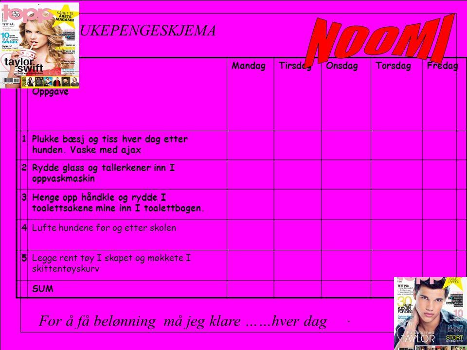 Oppgave MandagTirsdagOnsdagTorsdagFredag 1Plukke bæsj og tiss hver dag etter hunden.
