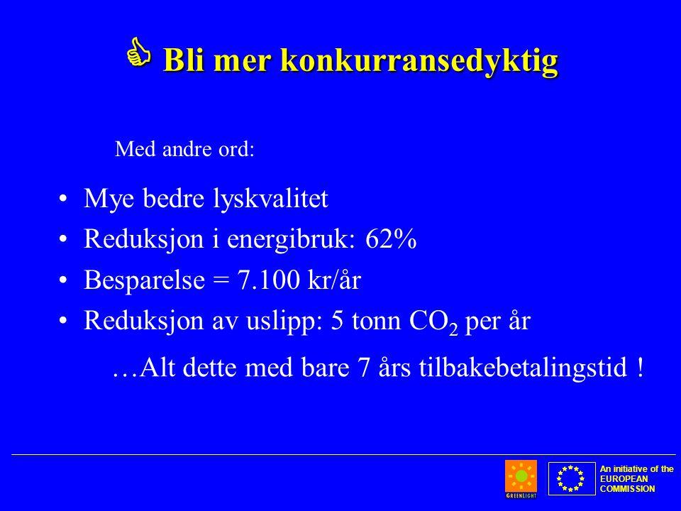 An initiative of the EUROPEAN COMMISSION  Bli mer konkurransedyktig •Mye bedre lyskvalitet •Reduksjon i energibruk: 62% •Besparelse = 7.100 kr/år •Reduksjon av uslipp: 5 tonn CO 2 per år …Alt dette med bare 7 års tilbakebetalingstid .