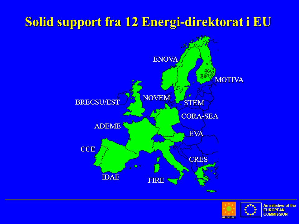 An initiative of the EUROPEAN COMMISSION Solid support fra 12 Energi-direktorat i EU BRECSU/EST IDAE CCE ADEME CORA-SEA CRES EVA FIRE MOTIVA STEM ENOV
