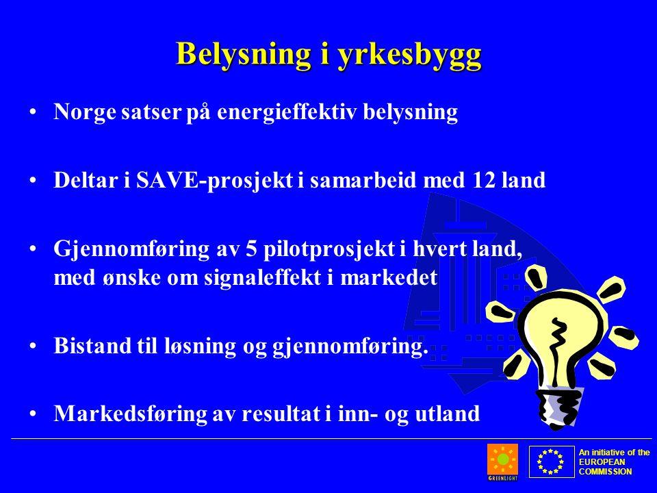 An initiative of the EUROPEAN COMMISSION Belysning i yrkesbygg •Norge satser på energieffektiv belysning •Deltar i SAVE-prosjekt i samarbeid med 12 land •Gjennomføring av 5 pilotprosjekt i hvert land, med ønske om signaleffekt i markedet •Bistand til løsning og gjennomføring.