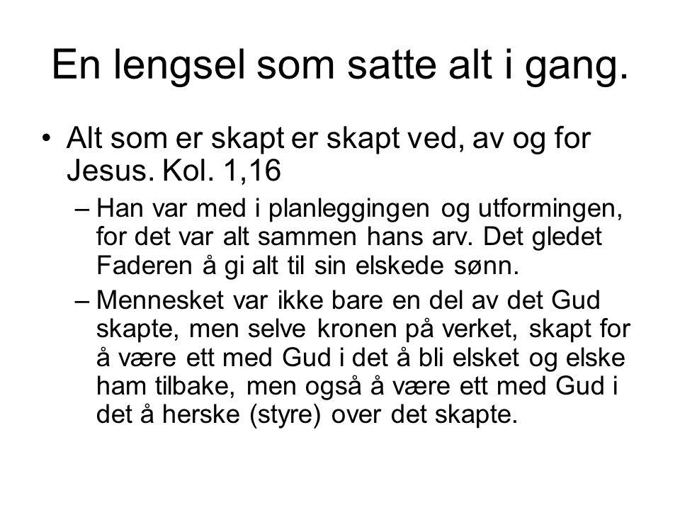 Jesu lengsel lagt ned i Adam •1.Mos. 2, 18-23 –Det er ikke godt for mannen å være alene.