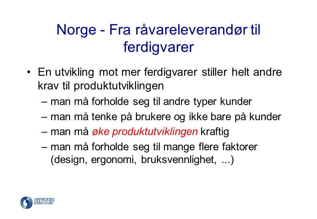 Norge - Fra råvareleverandør til ferdigvarer •I ferdigvaremarkedet er det andre faktorer og andre regler som gjelder enn i et råvaremarked •Tradisjonene strekker ikke lenger til, vi må utvikle kunnskap som er ny for mange norske bedrifter