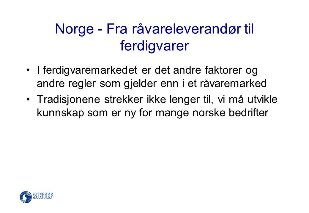 Norge - Fra råvareleverandør til ferdigvarer •I ferdigvaremarkedet er det andre faktorer og andre regler som gjelder enn i et råvaremarked •Tradisjone