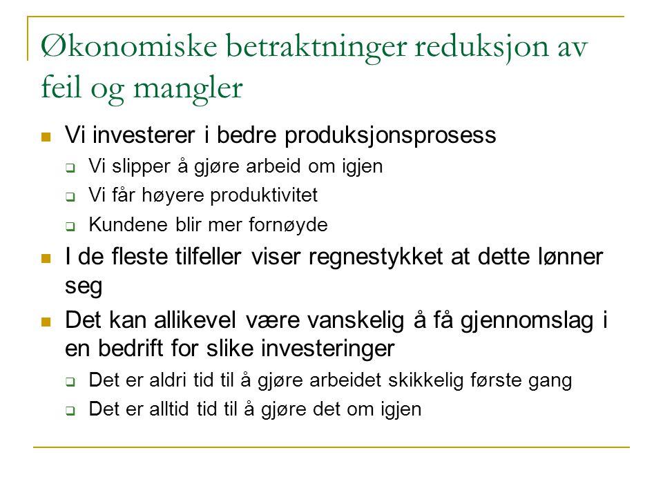 Økonomiske betraktninger reduksjon av feil og mangler  Vi investerer i bedre produksjonsprosess  Vi slipper å gjøre arbeid om igjen  Vi får høyere