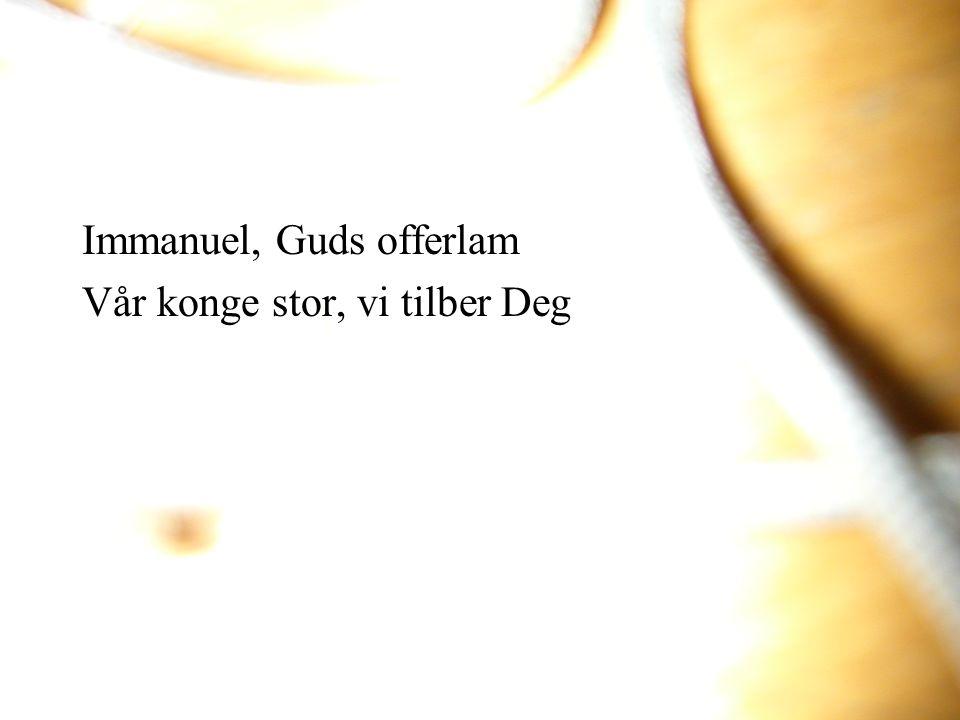 Immanuel, Guds offerlam Vår konge stor, vi tilber Deg