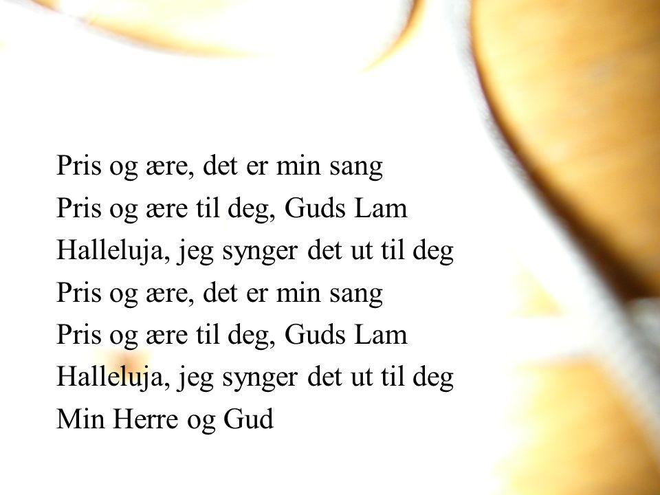 Pris og ære, det er min sang Pris og ære til deg, Guds Lam Halleluja, jeg synger det ut til deg Pris og ære, det er min sang Pris og ære til deg, Guds