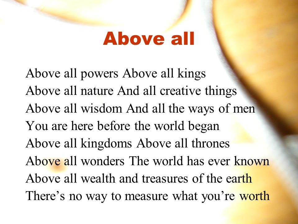 For du er konge Du er herre du regjerer over alle andre navn For du er konge Du er herre du regjerer over alle andre navn