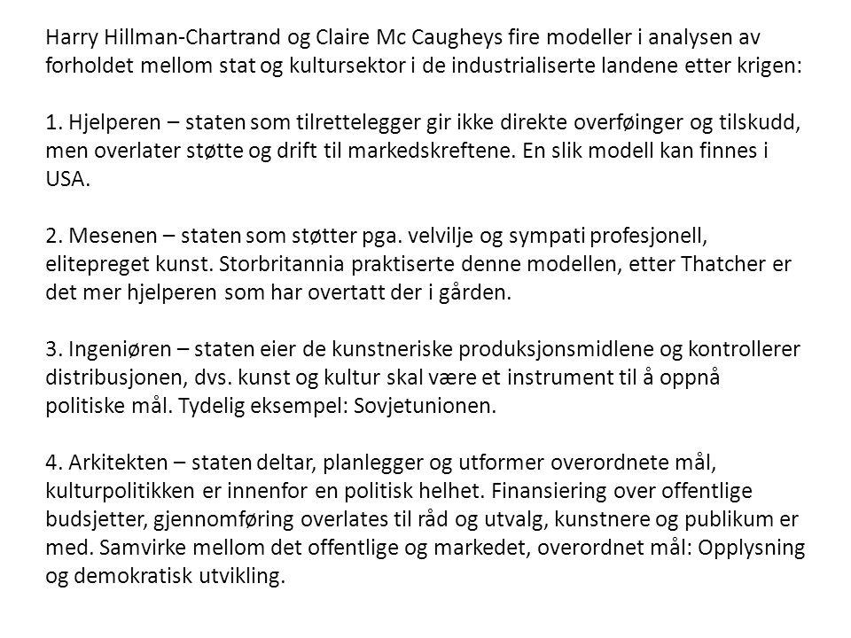 Harry Hillman-Chartrand og Claire Mc Caugheys fire modeller i analysen av forholdet mellom stat og kultursektor i de industrialiserte landene etter kr