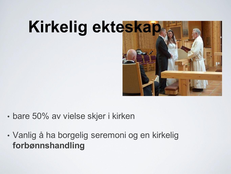 Kirkelig ekteskap • bare 50% av vielse skjer i kirken • Vanlig å ha borgelig seremoni og en kirkelig forbønnshandling