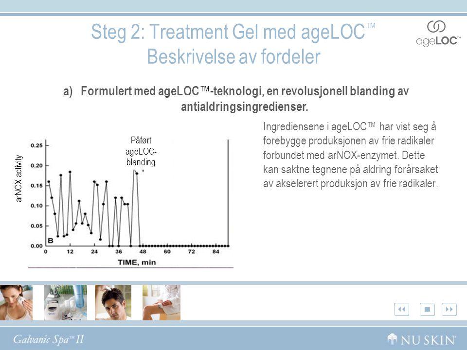 Steg 2: Treatment Gel med ageLOC ™ Beskrivelse av fordeler Ingrediensene i ageLOC™ har vist seg å forebygge produksjonen av frie radikaler forbundet med arNOX-enzymet.