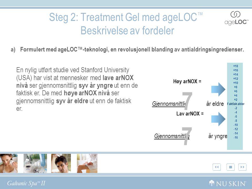 Steg 2: Treatment Gel med ageLOC ™ Beskrivelse av fordeler a) Formulert med ageLOC ™- teknologi, en revolusjonell blanding av antialdringsingredienser.