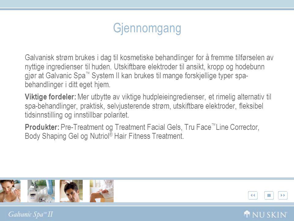 Gjennomgang Galvanisk strøm brukes i dag til kosmetiske behandlinger for å fremme tilførselen av nyttige ingredienser til huden. Utskiftbare elektrode