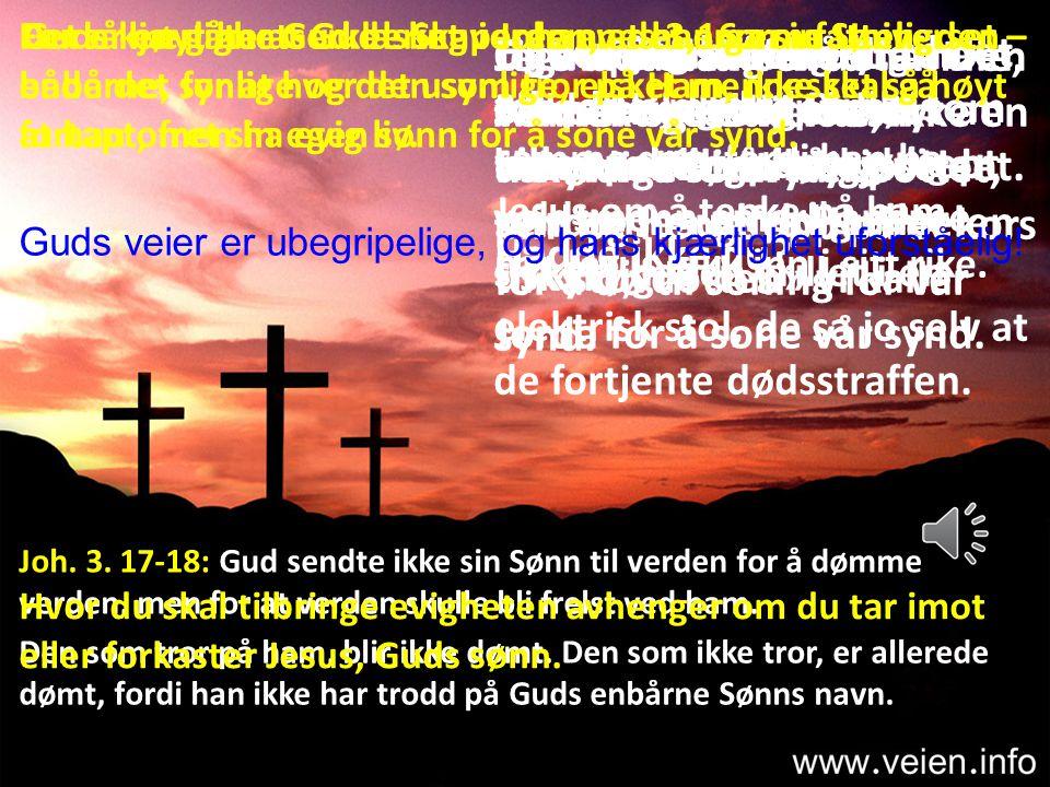 Like uforstålig er det at Den Allmektige Gud lot sin uskyldige sønn bli spottet, pint og hengt opp på et kors for å dø til soning for vår synd.