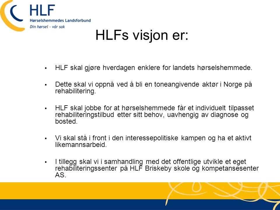 HLFs visjon er:  HLF skal gjøre hverdagen enklere for landets hørselshemmede.  Dette skal vi oppnå ved å bli en toneangivende aktør i Norge på rehab