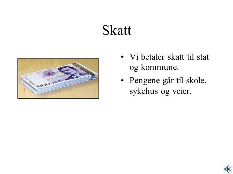 Skatt •Vi betaler skatt til stat og kommune. •Pengene går til skole, sykehus og veier.