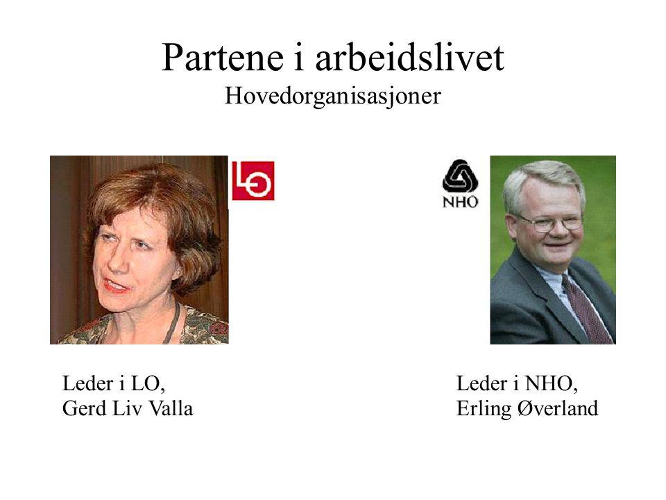 Partene i arbeidslivet Hovedorganisasjoner Leder i LO, Gerd Liv Valla Leder i NHO, Erling Øverland
