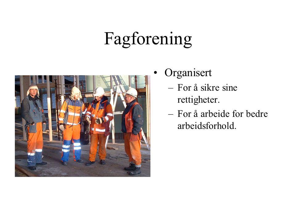 Fagforening •Organisert –For å sikre sine rettigheter. –For å arbeide for bedre arbeidsforhold.