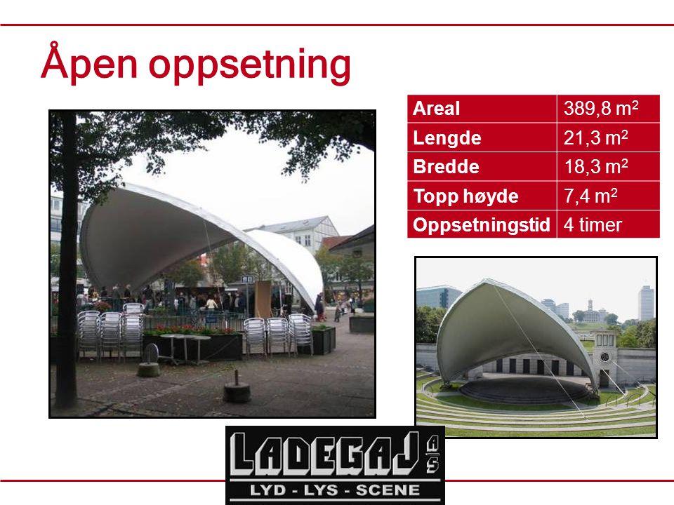 Åpen oppsetning Areal389,8 m 2 Lengde21,3 m 2 Bredde18,3 m 2 Topp høyde7,4 m 2 Oppsetningstid4 timer