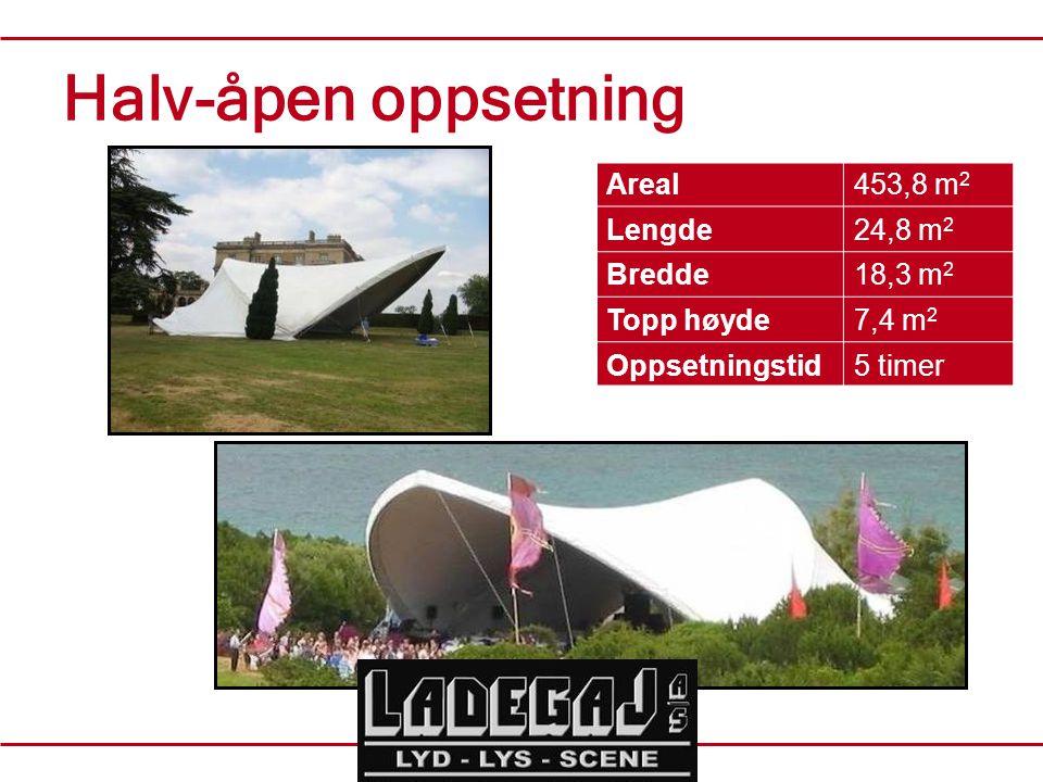 Halv-åpen oppsetning Areal453,8 m 2 Lengde24,8 m 2 Bredde18,3 m 2 Topp høyde7,4 m 2 Oppsetningstid5 timer