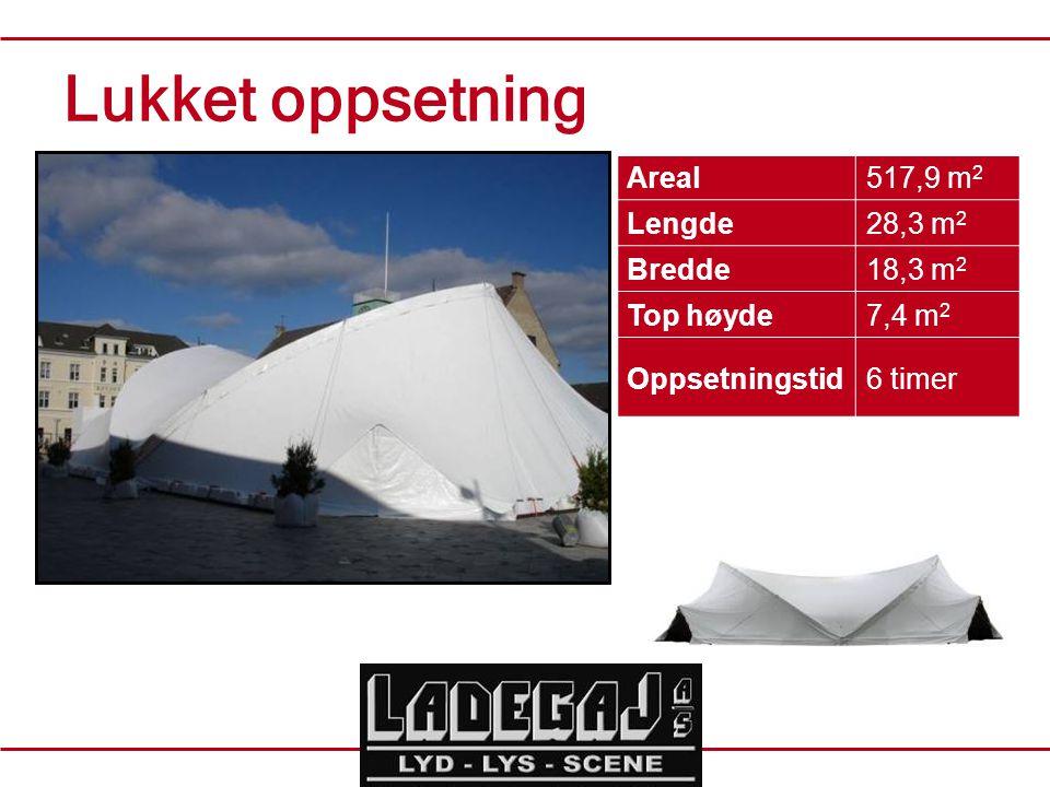 Areal517,9 m 2 Lengde28,3 m 2 Bredde18,3 m 2 Top høyde7,4 m 2 Oppsetningstid6 timer Lukket oppsetning