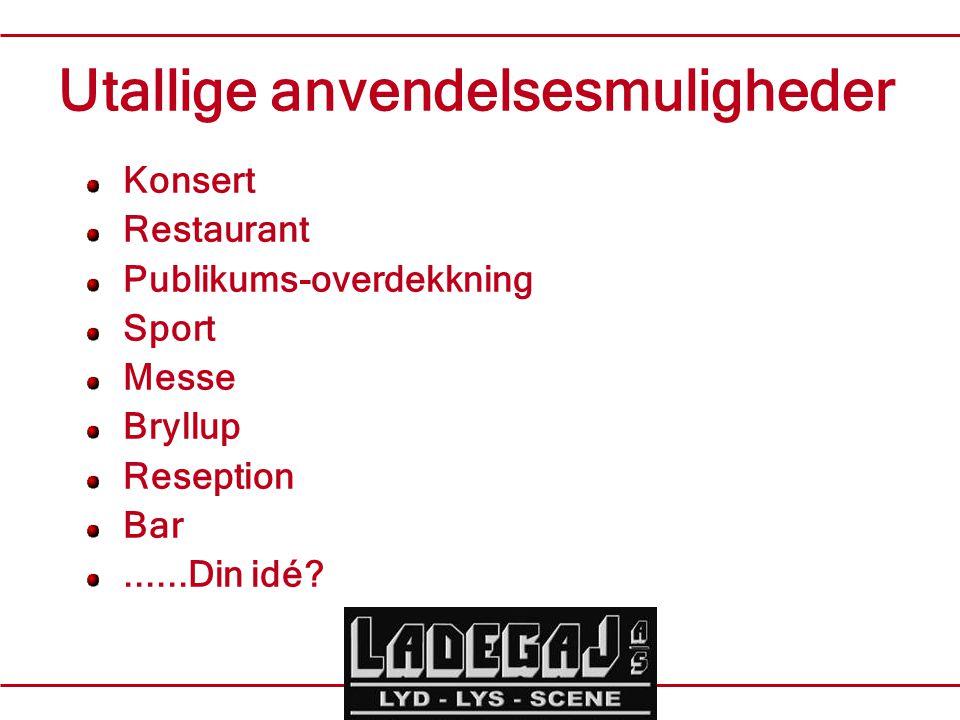 Utallige anvendelsesmuligheder Konsert Restaurant Publikums-overdekkning Sport Messe Bryllup Reseption Bar......Din idé?