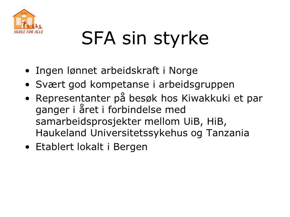 SFA sin styrke •Ingen lønnet arbeidskraft i Norge •Svært god kompetanse i arbeidsgruppen •Representanter på besøk hos Kiwakkuki et par ganger i året i