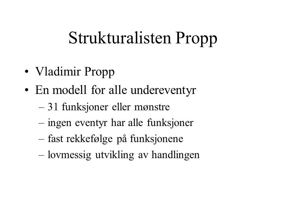 Strukturalisten Propp •Vladimir Propp •En modell for alle undereventyr –31 funksjoner eller mønstre –ingen eventyr har alle funksjoner –fast rekkefølg