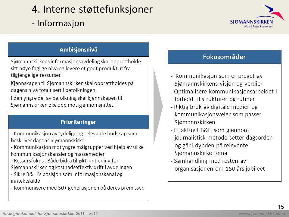 ' Strategidokument for Sjømannskirken 2011 – 2016 www.sjomannskirken.no 15 4. Interne støttefunksjoner - Informasjon Prioriteringer - Kommunikasjon av